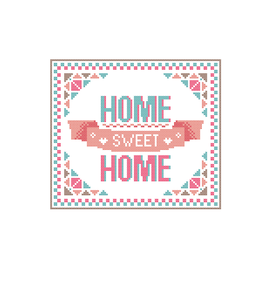 Modern cross stitch pattern home sweet home bright warm for Home sweet home designs