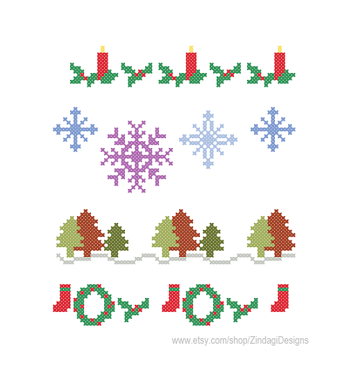 cross stitch Christmas Borders