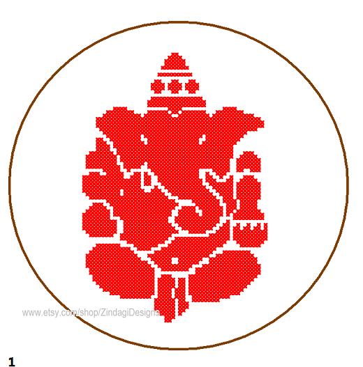 Ganesha cross stitch pattern