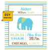 Elephant Birth Announcement Stripes cross stitch pattern