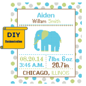 Elephant Birth Record cross stitch Polka Dot