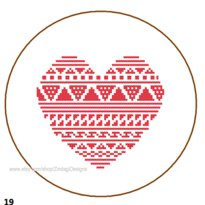 Heart cross stitch Free Pattern