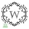 damask frame W monogram cross stitch pattern
