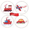 transport set 4 train engine, airplane, boat, carcross stitch pattern