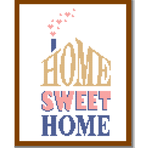 Home Sweet Home Coral Beige cross stitch pattern
