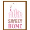 Home Sweet Home cross stitch Pink Beige cross stitch