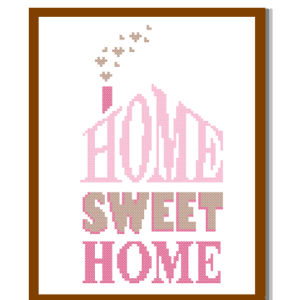 Home Sweet Home cross stitch Pink Beige cross stitch