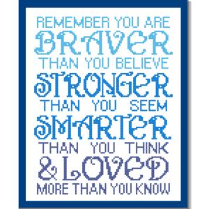 remember you are braver cross stitch pattern