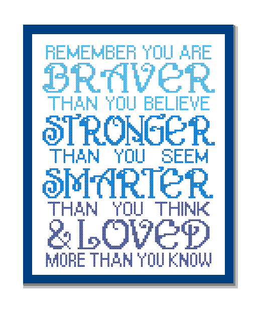 remember you are braver cross stitch pattern