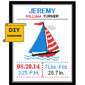 Yacht birth announcement cross stitch