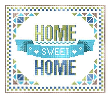 Home Sweet Home cross stitch blue green geometric
