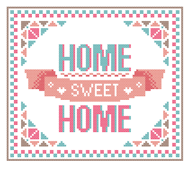 Home Sweet Home cross stitch Pink Green Geometric