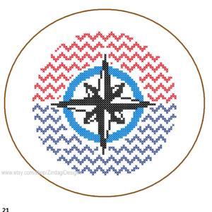 nautical compass cross stitch pattern