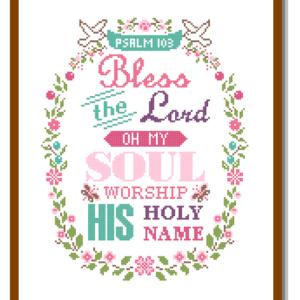 103 Psalm cross stitch pattern