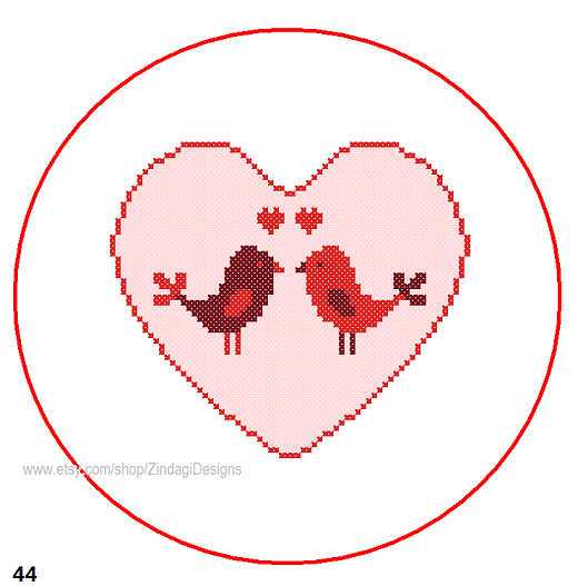 Heart With Birds love cross stitch