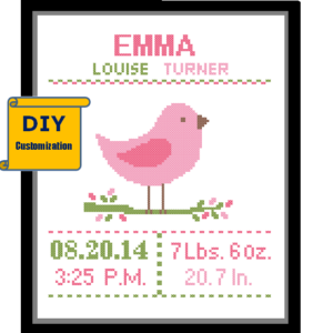 Pink Bird cross stitch birth announcement