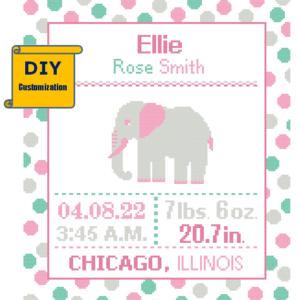 Pink Elephant Birth Record cross stitch Polka Dot