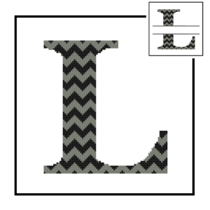 Chevron L Monogram cross stitch