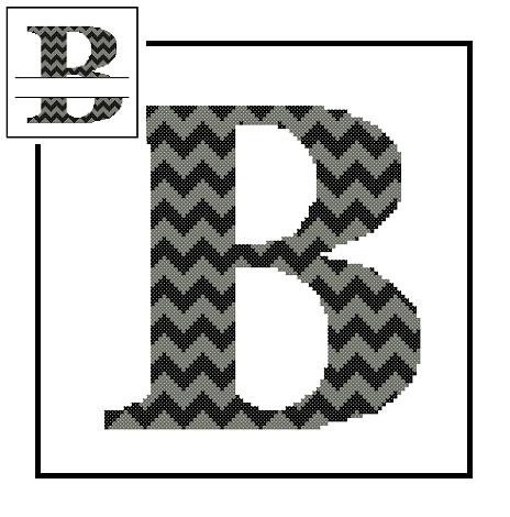 Chevron B Monogram cross stitch