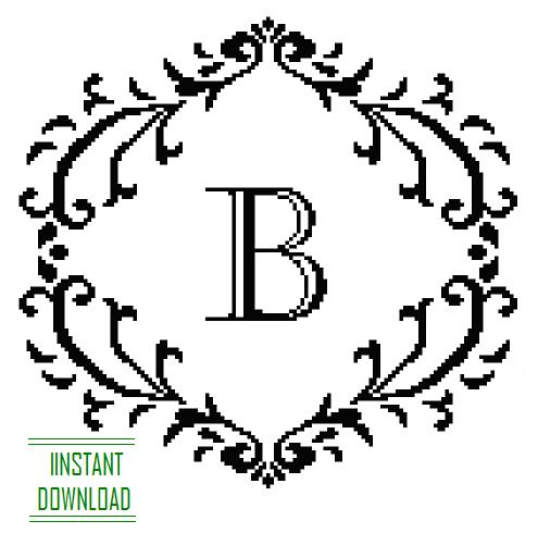 damask frame Monogram B