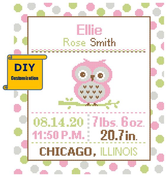 Owl birth cross stitch