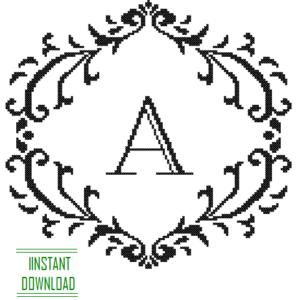 damask frame Monogram A