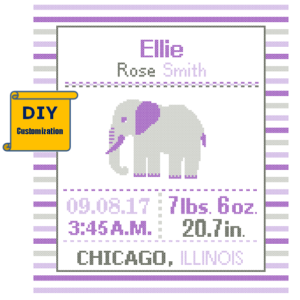 Purple Elephant birth sampler