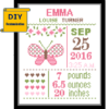 DIY butterfly birth record sample cross stitch