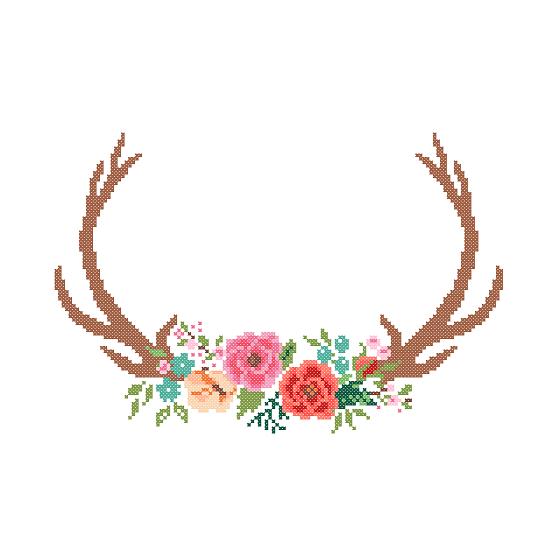 Modern Deer Cross Stitch Pattern cross stitch Floral Antler theme ...