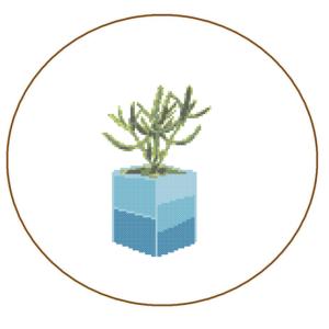 cactus cross stitch blue planter