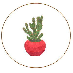 cactus cross stitch red planter