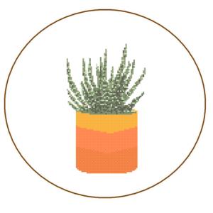 cactus cross stitch orange planter