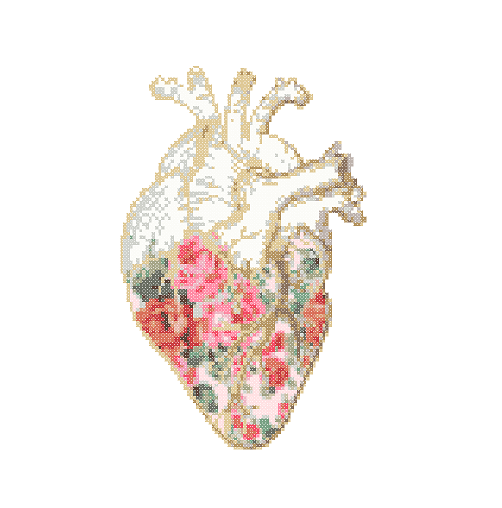 Floral Anatomical Heart Cross Stitch Pattern Cross Stitch Floral
