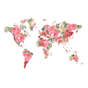 Floral World Map cross stitch