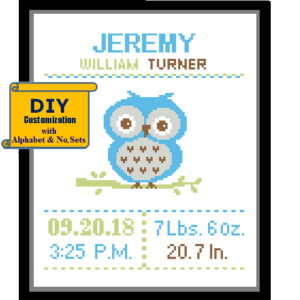 Baby Owl Blue cross stitch