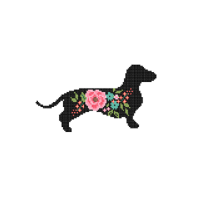 Dachshund Dog silhouette cross stitch