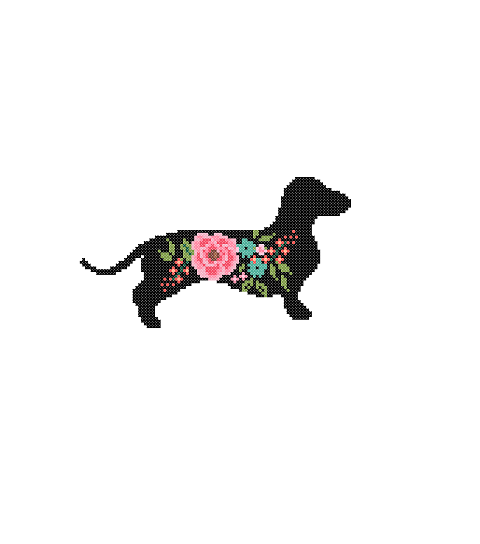 Dachshund Dog silhouette cross stitch
