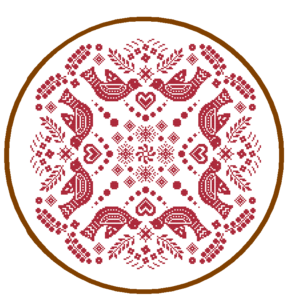 Folk Bird Mandala cross stitch