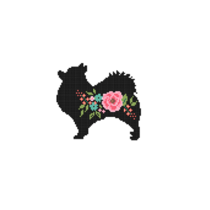 Pomeranian dog silhouette cross stitch