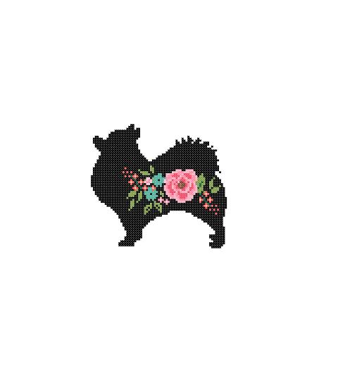 Pomeranian dog silhouette cross stitch
