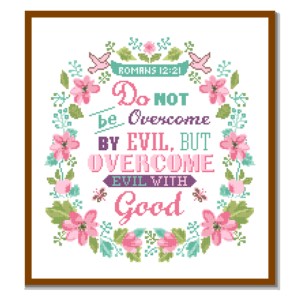 Romans 12 21 cross stitch