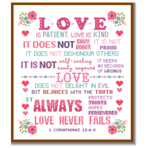 Love is patient cross stitch