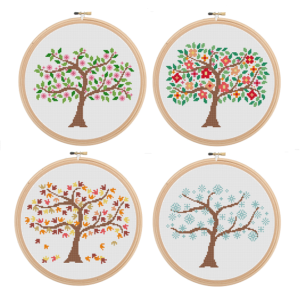 4 season trees cross stitch