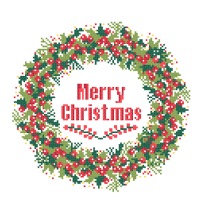 Merry Chrsitmas wreath cross stitch