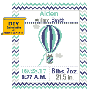 Navy Green Hot Air Balloon cross stitch