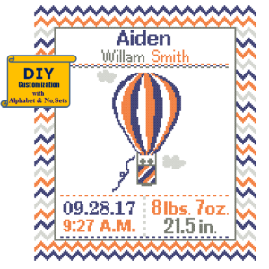 Orange Navy Hot Air Balloon cross stitch