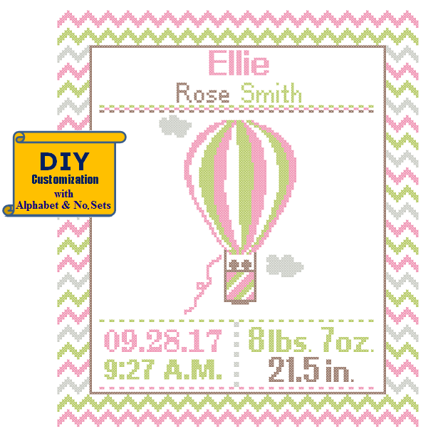 Pink Green Hot Air Balloon cross stitch