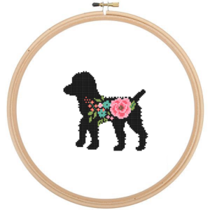 Black Poodle Dog cross stitch