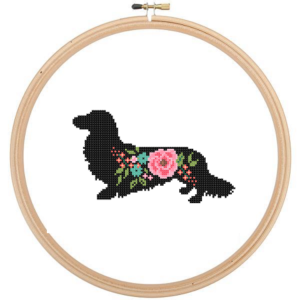 Dachshund ldog ong haired cross stitch