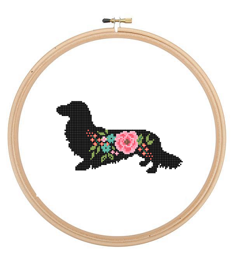 long haired dachshund dog silhouette cross stitch pattern floral
